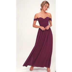 Lulu's Off the Shoulder Burgundy Gown